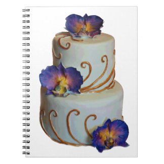 Wedding cake purple orchids gold laces notebook