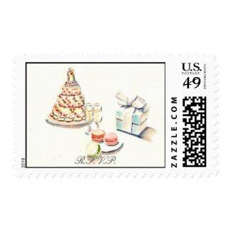 Wedding Cake R.S.V.P. Postage Stamps