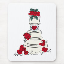 Wedding Cake Red Flowers Mouse Pad