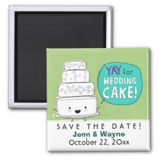 Wedding Cake Save the Date 2 Inch Square Magnet
