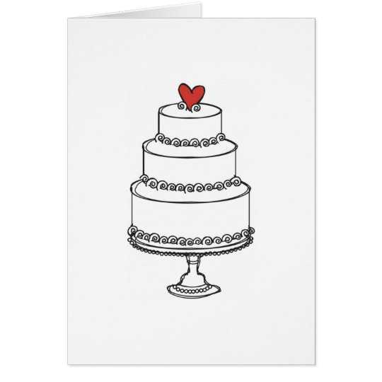 wedding cake sketch plain card zazzlecom