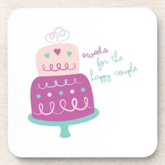 Wedding Cake Sweets For Happy Couple Drink Coasters
