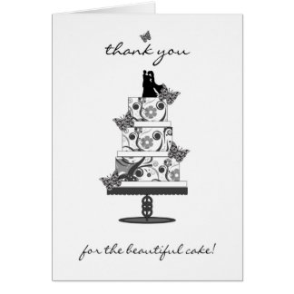 wedding cake thank you card - thank you for the be