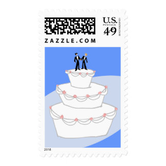 Wedding Cake Two Grooms Postage Stamps