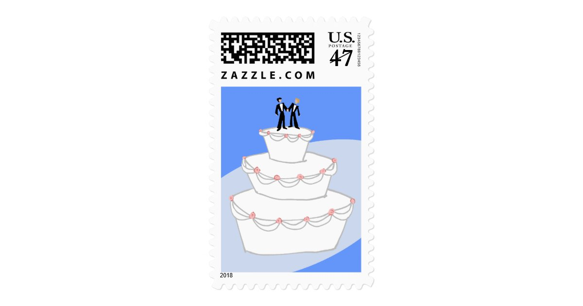wedding cakes for two grooms wedding cake two grooms postage stamp zazzle 24385