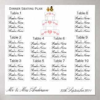 Wedding Cake Wedding Dinner Seating Plan Poster