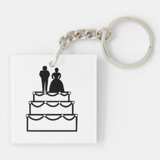 Wedding cake with bride and groom cartoon acrylic key chains