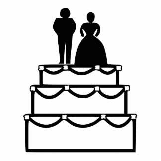 Wedding cake with bride and groom cartoon acrylic cut outs