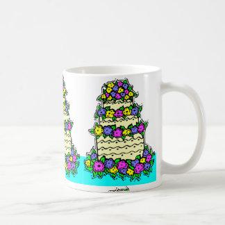 Wedding Cake with Bright Flowers Coffee Mugs