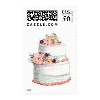 Wedding Cake with Peach Flowers Postage