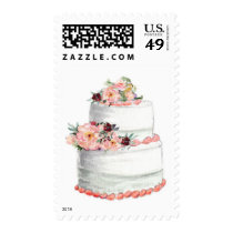Wedding Cake with Peach Flowers Postage