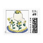 Wedding Cake Yellow Flowers Postage Stamp