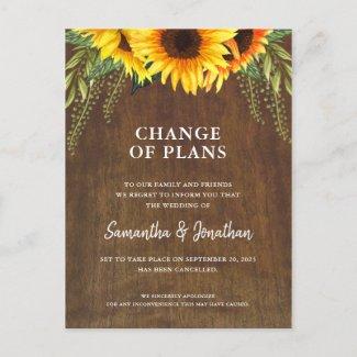 Wedding Cancelled Rustic Sunflower Announcement Postcard