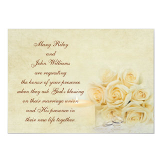 Wedding candle and roses 5x7 paper invitation card