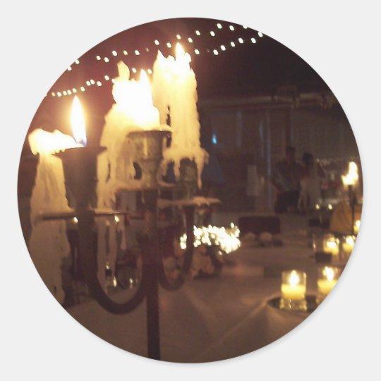Wedding candles classic round sticker
