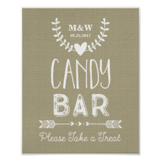 Wedding Candy Bar Sign Burlap Hearts Arrows