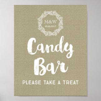 Wedding Candy Bar Sign Burlap Wreath Monogram Poster