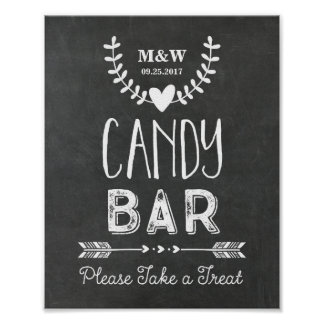 Wedding Candy Bar Sign Chalkboard Hearts Arrows