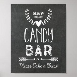 Wedding Candy Bar Sign Chalkboard Hearts Arrows Poster