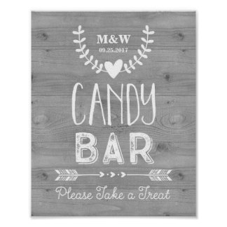 Wedding Candy Bar Sign Wood Hearts Arrows Poster