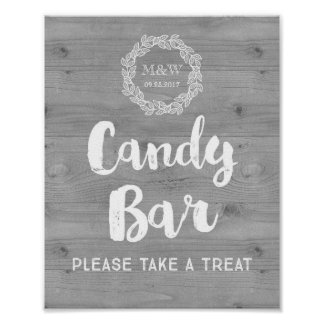 Wedding Candy Bar Sign Wood Pattern Wreath Poster