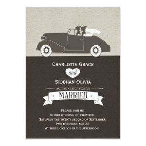 Wedding Car Two Bride Lesbian Wedding Card