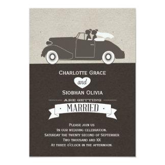"""Wedding Car Two Bride Lesbian Wedding 5"""" X 7"""" Invitation Card"""