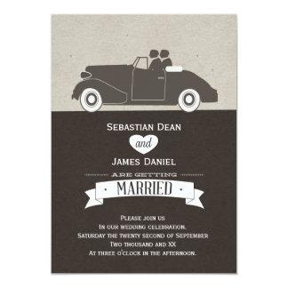 Wedding Car Two Groom Gay Wedding Custom Invitation