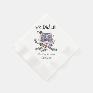 Wedding Car We Did It Personalized Paper  Napkins Disposable Napkin