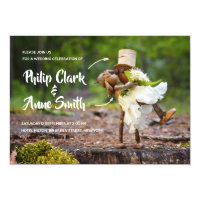 Wedding card invitation template with acorn elves