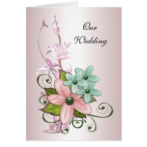 Wedding Card Pink Floral