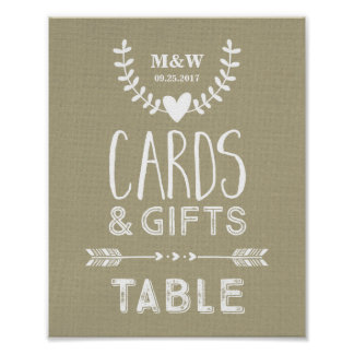 Wedding Cards Gifts Table Sign Burlap Heart Arrow Poster