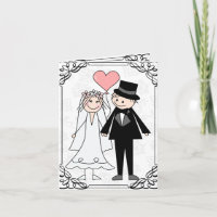 wedding cartoon couple invitation & rsvp