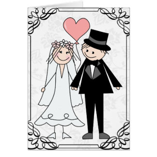 wedding cartoon couple invitation & rsvp