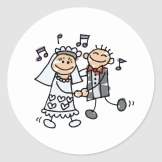Wedding Cartoon Dance Classic Round Sticker