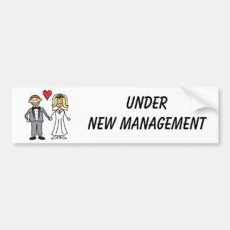 Wedding Cartoon - Under New Management Car Bumper Sticker