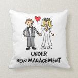 Wedding Cartoon - Under New Management Throw Pillows