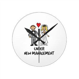 Wedding Cartoon - Under New Management Round Wall Clocks