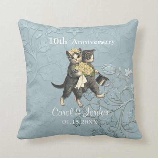 Wedding Cats10th Anniversary on Blue- Customize Throw Pillow