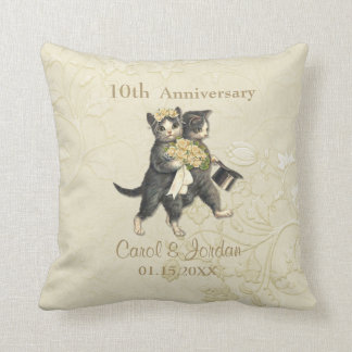 Wedding Cats 10th Anniversary on Ivory- Customize Throw Pillow