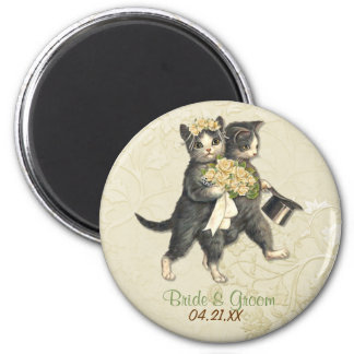 Wedding Cats 2 Inch Round Magnet