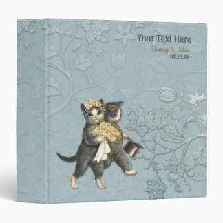 Wedding Cats Bridal Floral - Aqua 3 Ring Binder