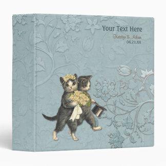 Wedding Cats Bridal Floral - Aqua Vinyl Binders