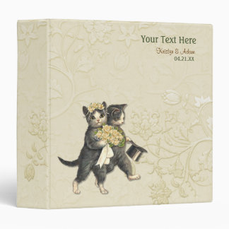 Wedding Cats Bridal Floral - Ivory 3 Ring Binder