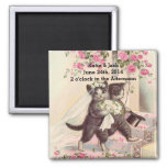 Wedding Cats Bride and Groom 2 Inch Square Magnet