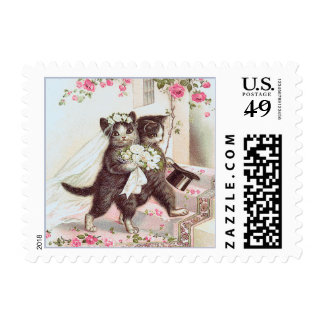 Wedding Cats Bride and Groom Blue Border Postage Stamp