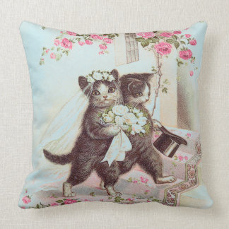 Wedding Cats Bride and Groom in Blue Throw Pillow