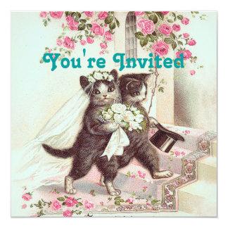 Wedding Cats Bride and Groom Light Blue Card