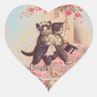 Wedding Cats Bride and Groom Love Heart Sticker