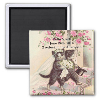 Wedding Cats Bride and Groom Magnet